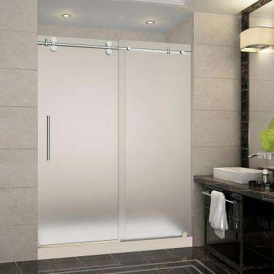 Langham 60 in. x 32 in. x 77.5 in. Completely Frameless Sliding Shower Door with Frosted in Chrome with Left Base