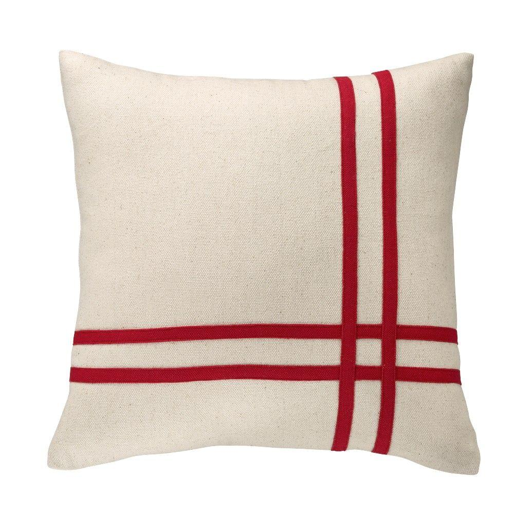 Home Decorators Collection 18 in. Red Intersecting Stripes Square Pillow