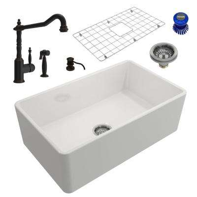 Classico All-in-One Farmhouse Fireclay 30 in. Single Bowl Kitchen Sink with Lesina Rubbed Bronze Faucet and Soap Disp