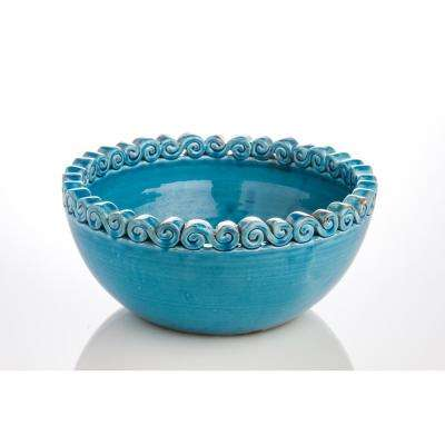 Puglia Bowl Turquoise with Scroll Edge Large