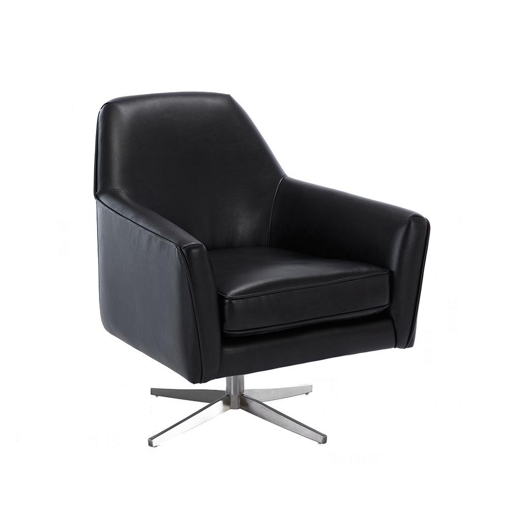 Phoenix Black Leather Gel Swivel Armchair