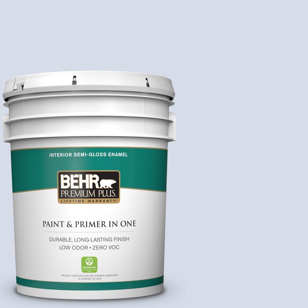 BEHR Premium Plus 5-gal. #590E-2 Snow Ballet Zero VOC Semi-Gloss Enamel Interior Paint