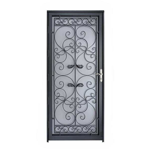 Naples 36 in. x 80 in. Black Full View Wrought Iron Security Storm Door with Reversible Hinging