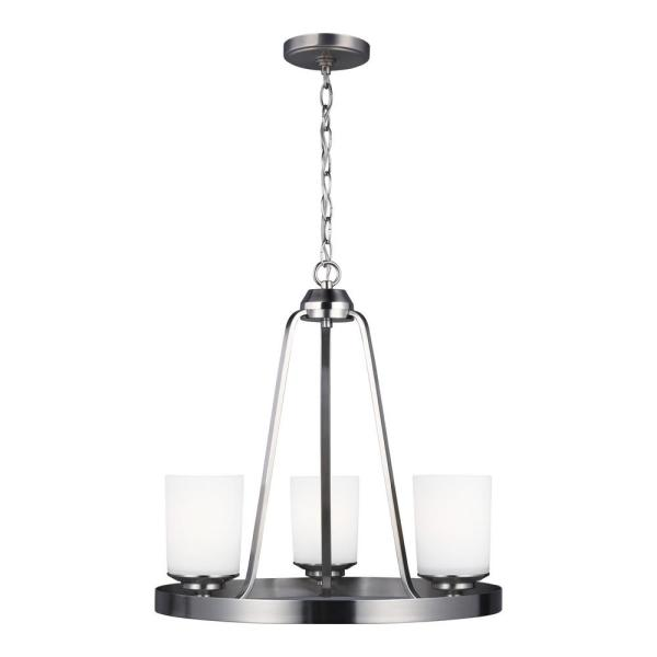 Kemal 3-Light Brushed Nickel Transitional Chandelier with Etched White Inside Glass Shades