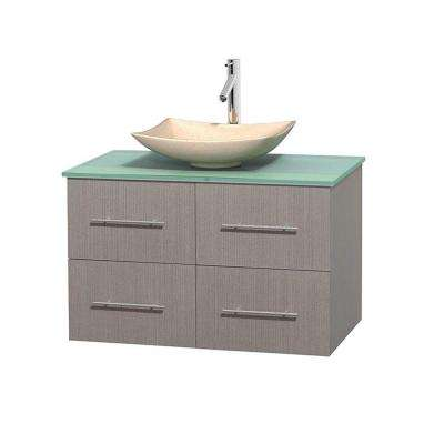 Centra 36 in. Vanity in Gray Oak with Glass Vanity Top in Green and Sink
