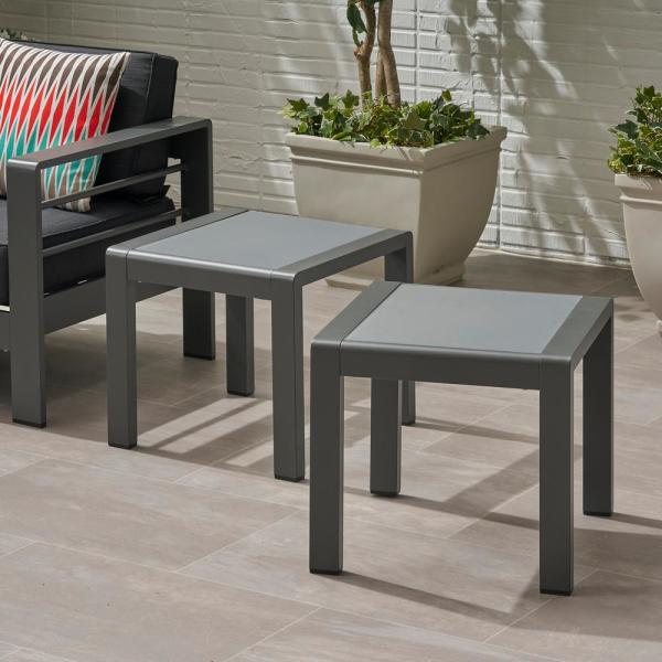 Cape Coral Grey Square Aluminum Outdoor Side Table (Set of 2)