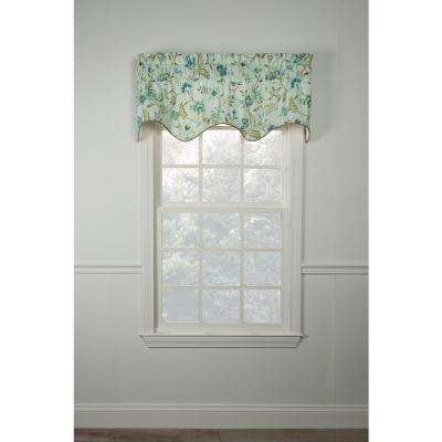 Carolina Crewel 15 in. L Cotton Lined Scallop Valance in Mist