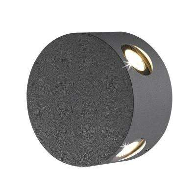 Pass Collection 4-Light Graphite Grey Outdoor LED Wall Mount