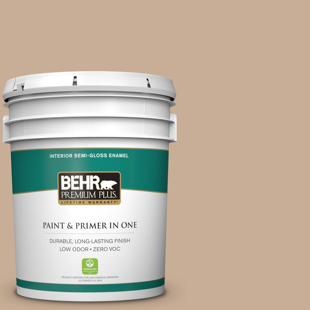 BEHR Premium Plus 5-gal. #280E-3 Toasted Wheat Zero VOC Semi-Gloss Enamel Interior Paint