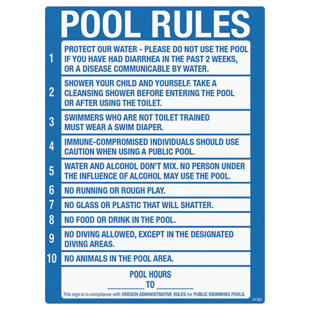 Poolmaster Sign for Residential Swimming Pools, Oregon Pool Rule