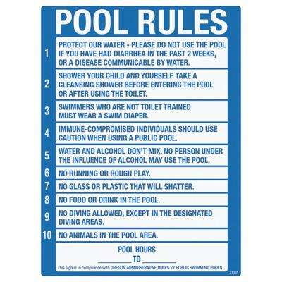 Sign for Residential Swimming Pools, Oregon Pool Rule