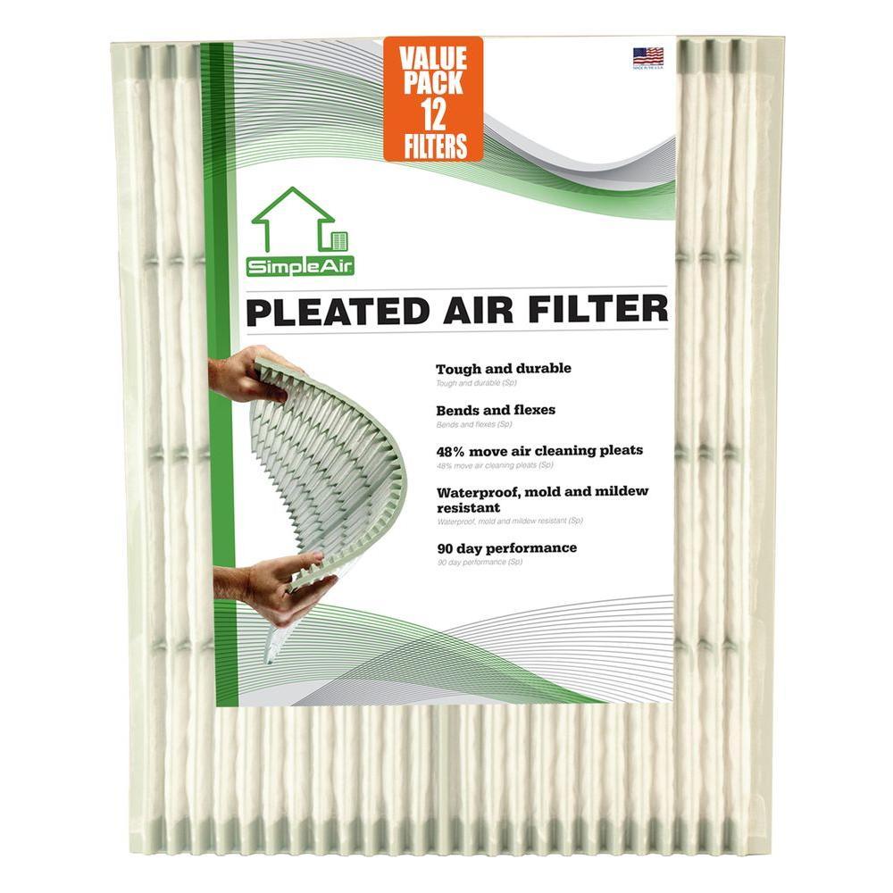 SimpleAir 20 in. x 25 in. x 1 in. Pleated FPR 6 Air Filter (12-Pack)