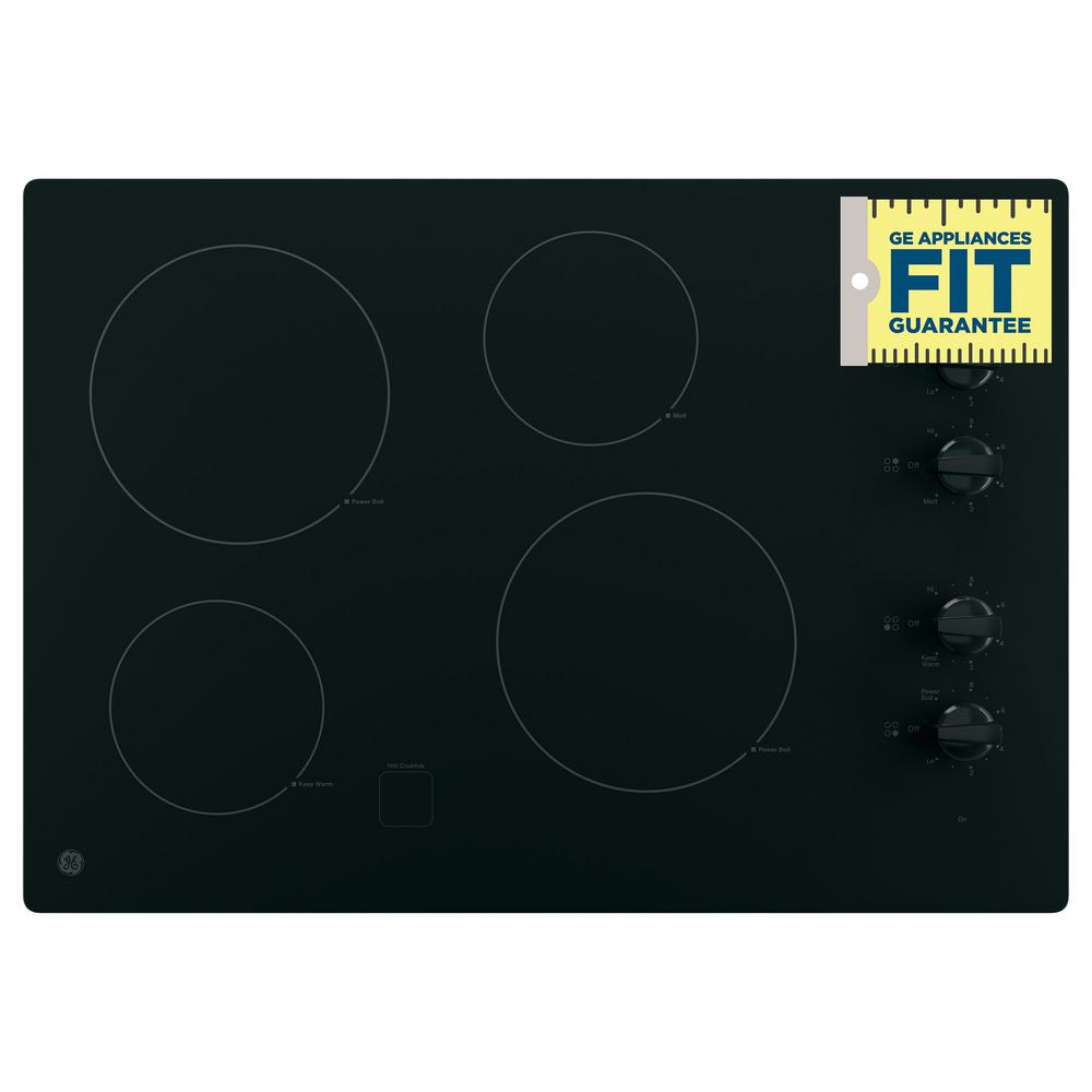 Electric Cooktop Elements ~ Ge in radiant electric cooktop black with