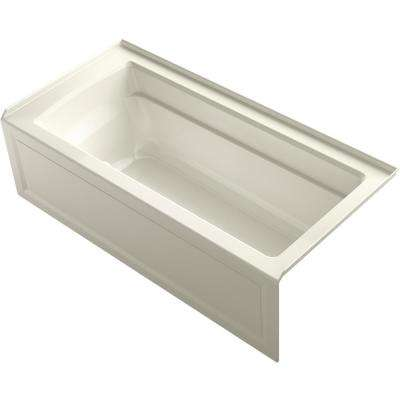 Archer 66 in. Right-Hand Drain Rectangular Alcove Air Bath Bathtub in Biscuit