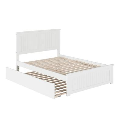Nantucket Full Platform Bed with Matching Foot Board with Full Size Urban Trundle Bed in White