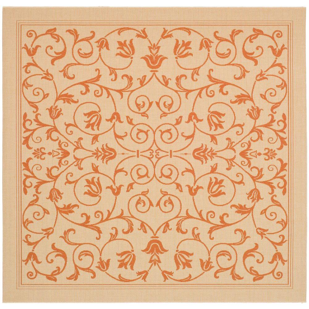 Courtyard Natural/Terracotta 8 ft. x 8 ft. Indoor/Outdoor Square Area Rug