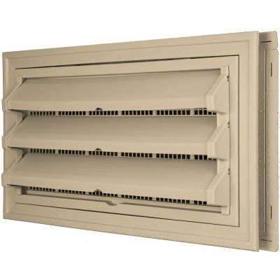 9-3/8 in. x 17-1/2 in. Foundation Vent Kit with Trim Ring and Optional Fixed Louvers (Molded Screen) #013 Light Almond