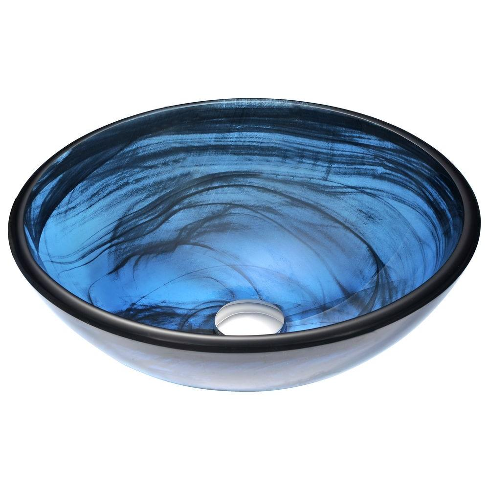 ANZZI Soave Series Deco-Glass Vessel Sink in Sapphire Wisp-LS-AZ048 ...