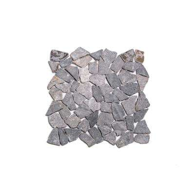 Fit Tile Grey 11-3/8 in. x 11-3/8 in. x 9.5 mm Indonesian Marble Mesh-Mounted Mosaic Tile (10.01 sq. ft. / case)