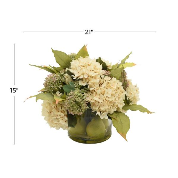 Litton Lane 21 In L X 15 In H Mixed Flower Arrangements With Pink Cream And Green Hydrangea In Glass Vase 100006 The Home Depot