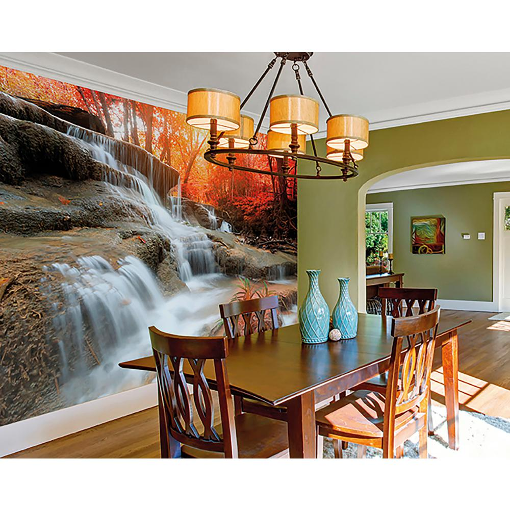 Brewster autumn waterfall wall mural wals0199 the home depot for Brewster wall mural