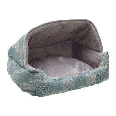 Lounge Sleeper Medium Teal Patchwork Hooded Snuggle Pet Bed