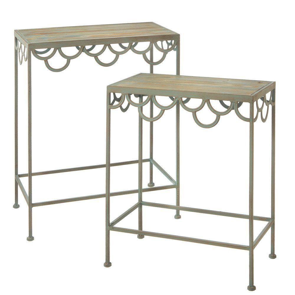 Filament Design Sundry Nesting Metal Table in Sage Green (Set of 2)