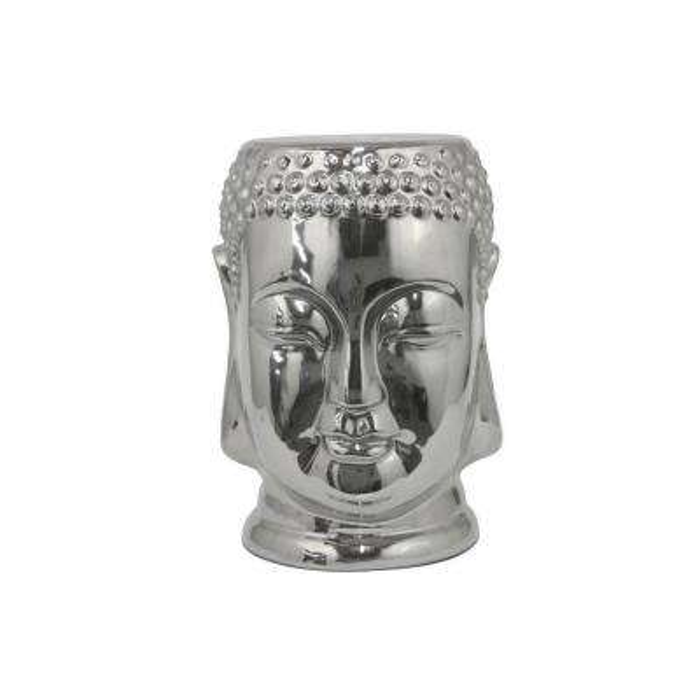 17.5 in. Silver Buddha Gargen Stool