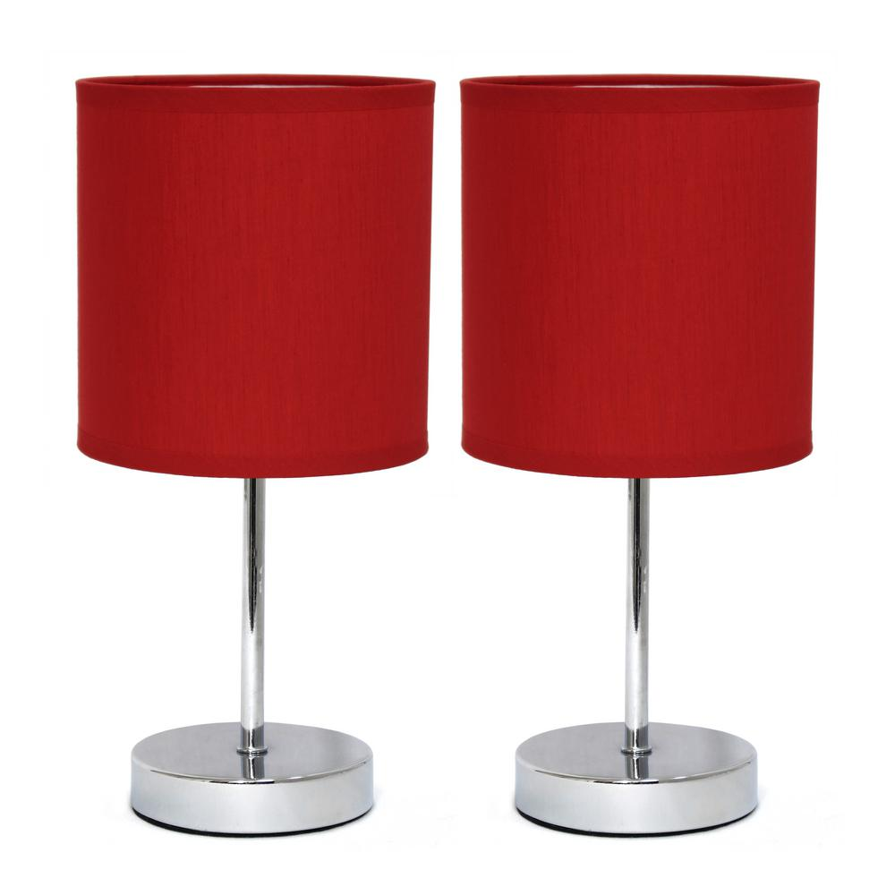 11.89 in. Chrome Mini Basic Table Lamps with Red Fabric Shades (2-Pack)