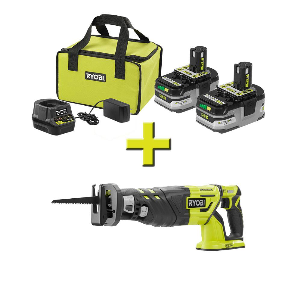 RYOBI 18-Volt ONE+ Reciprocating Saw with ONE+ LITHIUM+ HP 3.0 Ah Battery (2-Pack) Starter Kit with Charger and Bag