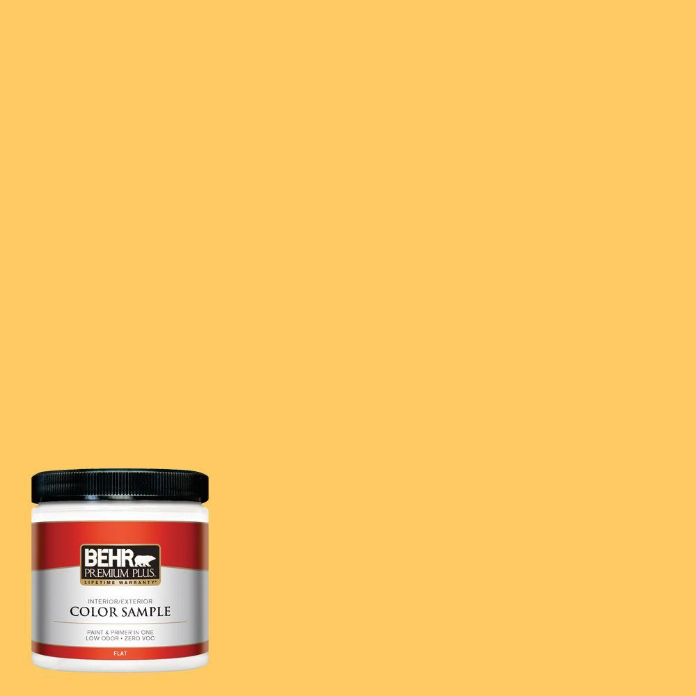 BEHR Premium Plus 8 oz. #P260-6 Smiley Face Flat Interior/Exterior Paint and Primer in One Sample The BEHR Premium Plus 8 oz. Interior/Exterior Paint Sample lets you try a color before you buy it. This sample is 100% acrylic latex paint that provides a long-lasting, tough finish. For a true idea of whole-room coverage this sample can be tested on almost any interior or exterior surface and covers up to 16 sq. ft. Color: Smiley Face.