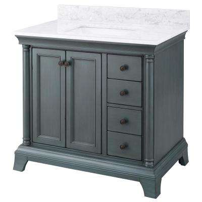 Strousse 37 in. W x 22 in. D Vanity Cabinet in Distressed Blue Fog with Marble Top in Carrara White with White Basin