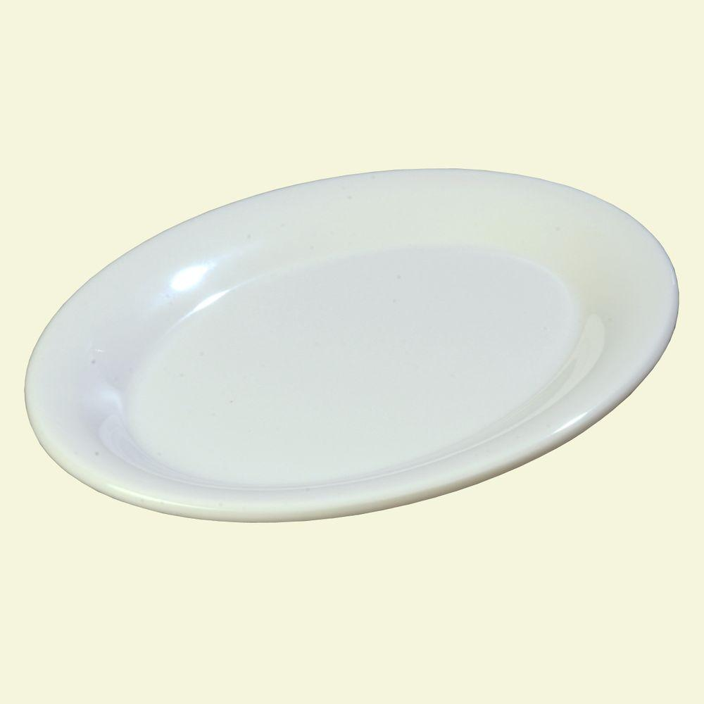 Melamine Small Oval Platter in White & Gibson Home 1-Piece White Ceramic Turkey Oval Platter Set-985100741M ...