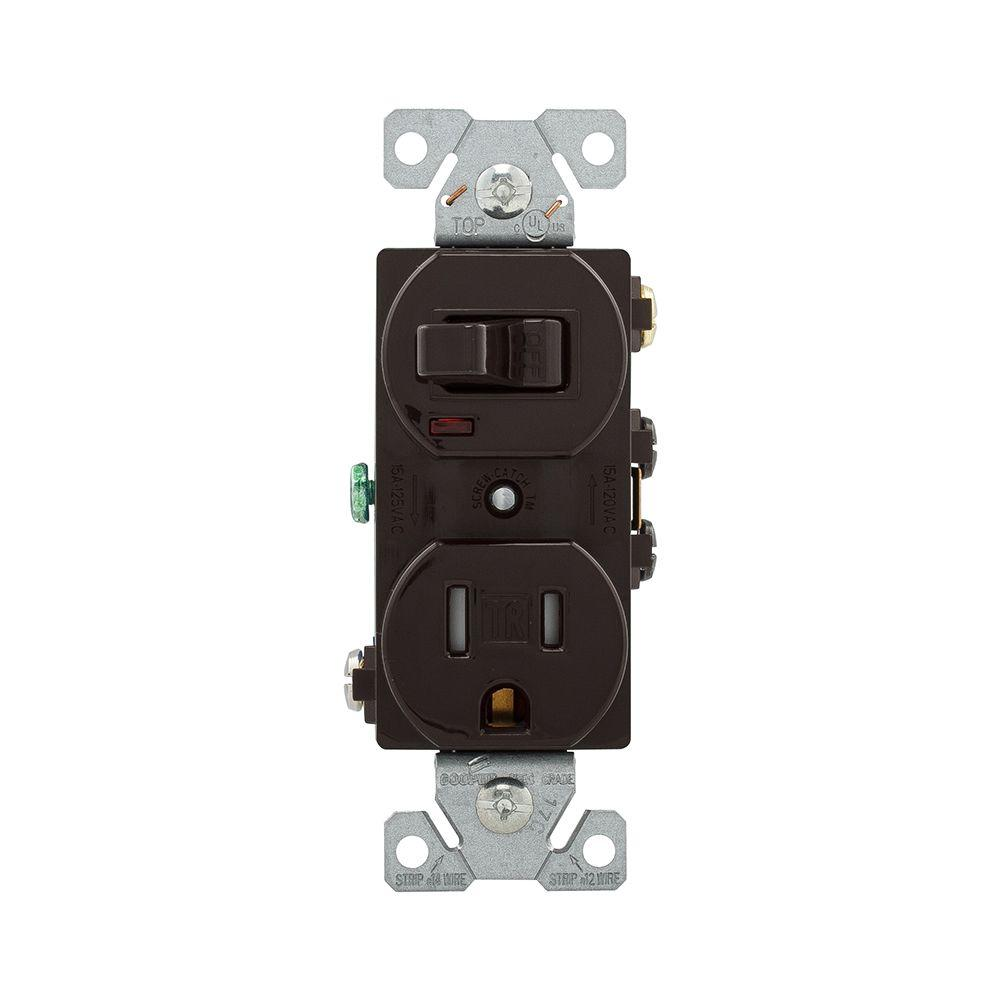 Eaton 15 Amp 120-Volt 5-15 3-Wire Combination Receptacle and Toggle ...
