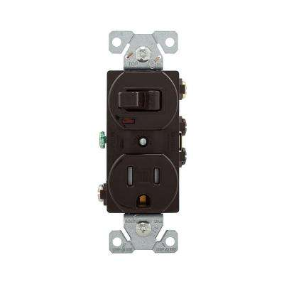 15 Amp 120-Volt 5-15 3-Wire Combination Receptacle and Toggle Switch - Brown