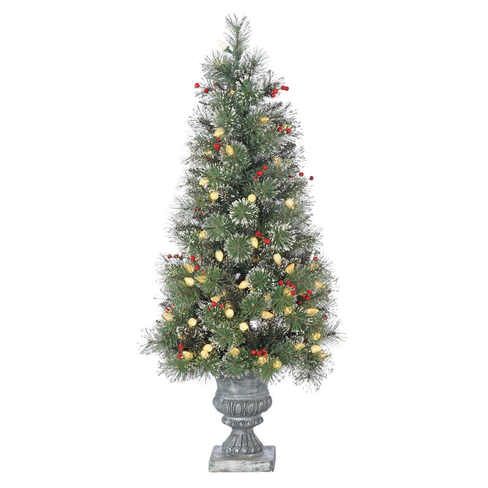 Artificial Christmas Trees Pre Lit Led: Sterling 4 Ft. Pre-Lit LED Potted Alaskan Fir Artificial