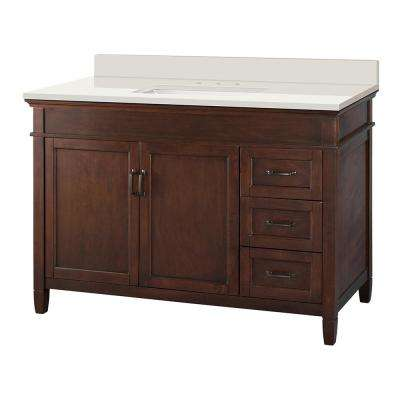 Ashburn 49 in. W x 22 in. D Vanity in Mahogany with Engineered Marble Vanity Top in Winter White with White Sink