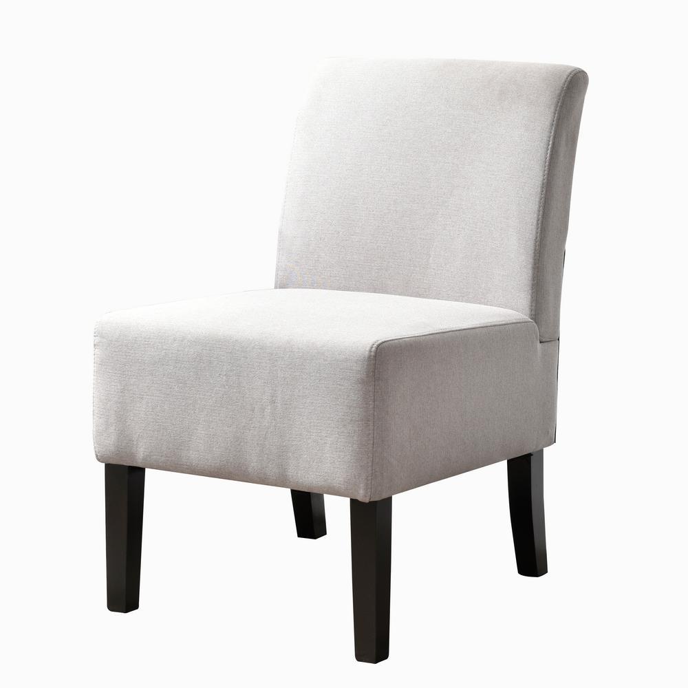 Modern Gray Upholstered Armless Slipper Chair with Full Back