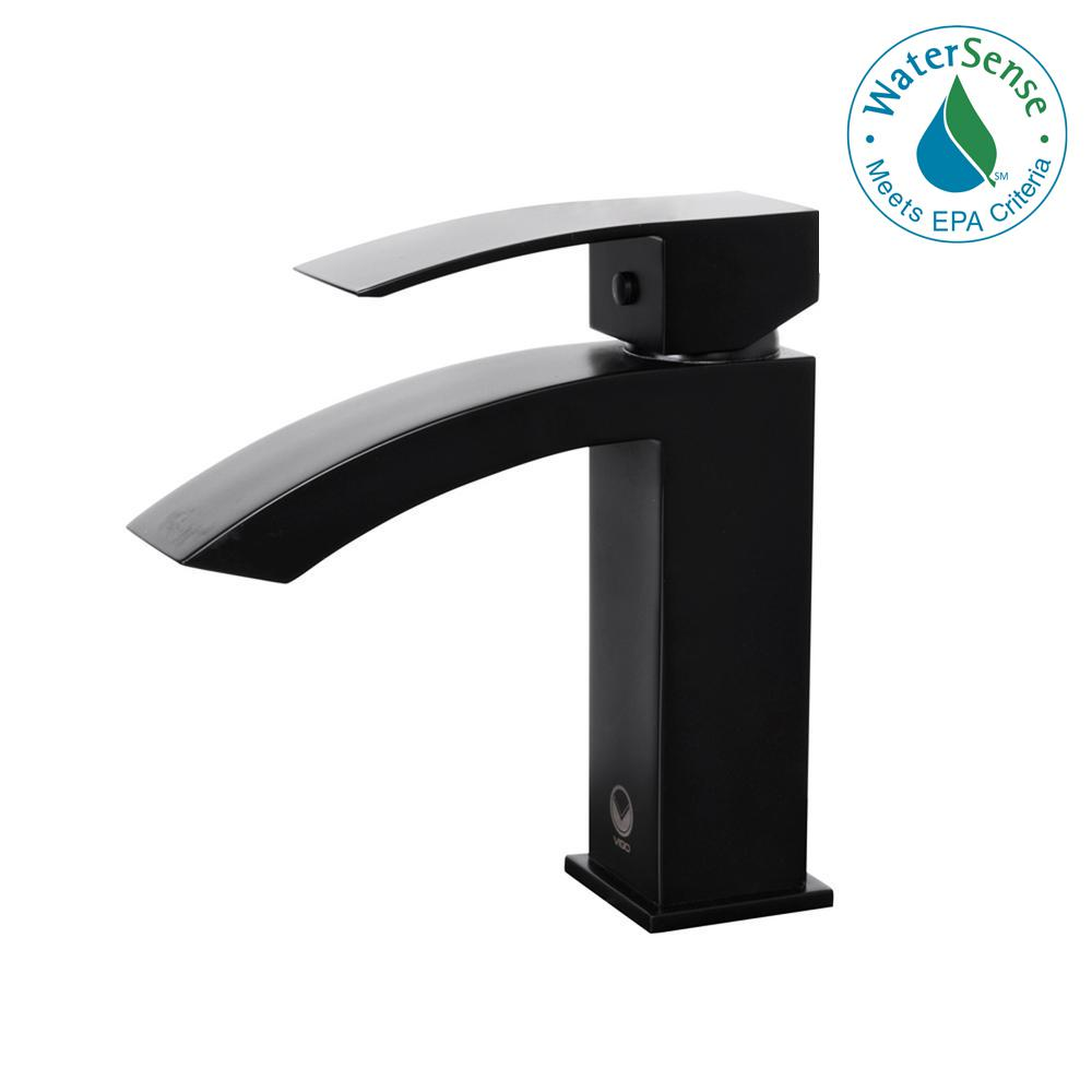 VIGO Satro Single Hole 1-Handle Bathroom Faucet in Matte Black ...