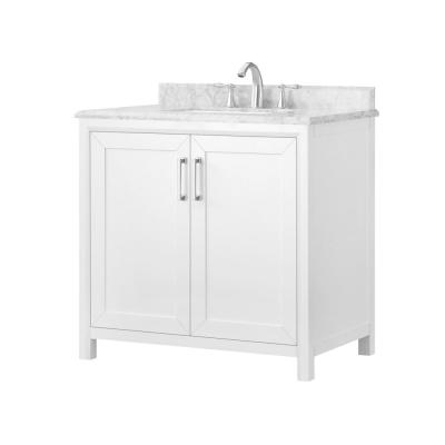 Rockleigh 36 in. W x 22 in. D Bath Vanity in White with Marble Vanity Top in Carrara White with White Basin