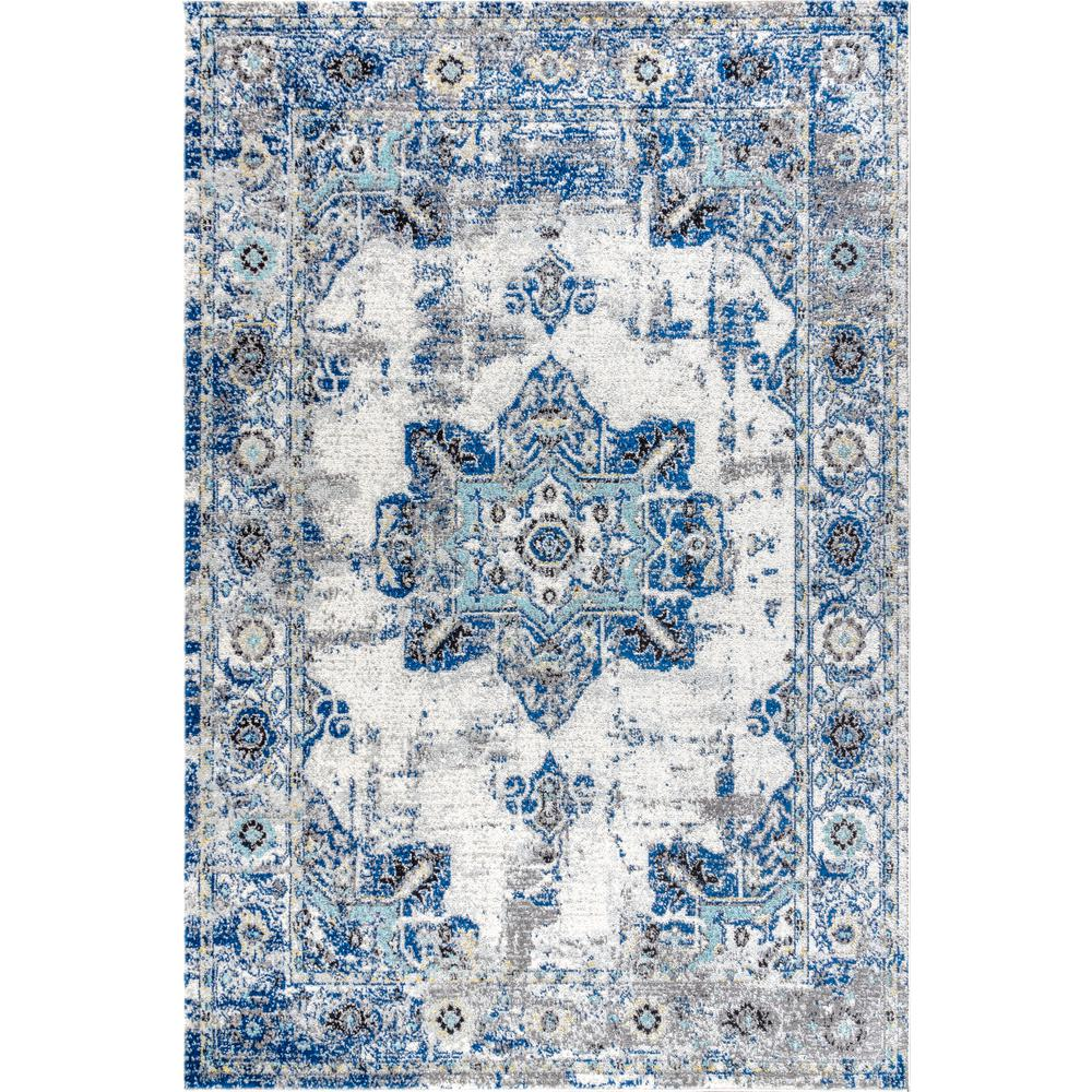 Jonathan Y Modern Persian Boho Vintage Medallion Cream Blue 3 Ft X 5 Ft Area Rug Mdp201a 3 The Home Depot