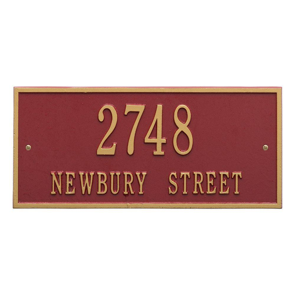 Hartford Rectangular Red/Gold Standard Wall 2-Line Address Plaque
