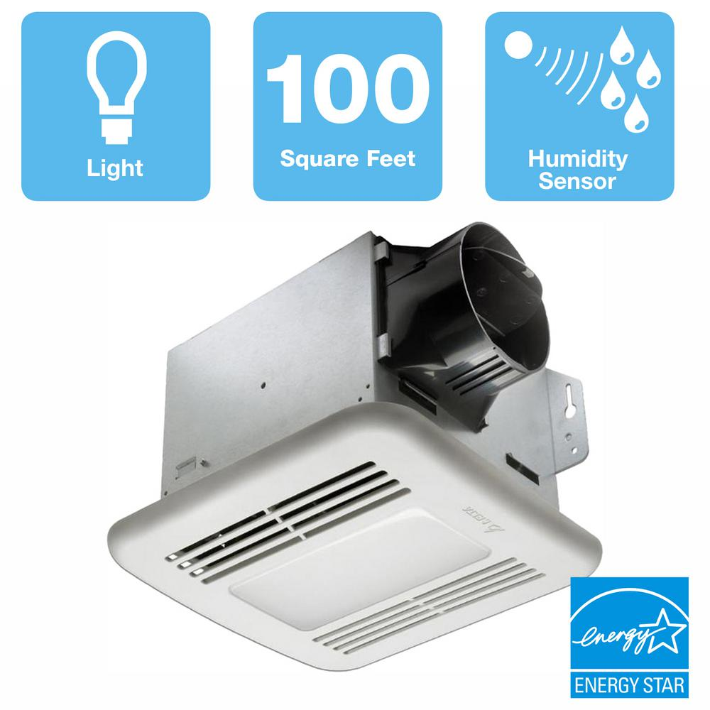 Delta Breez GreenBuilder Series 100 CFM Ceiling Bathroom Exhaust Fan with LED Light and Humidity Sensor, ENERGY STAR