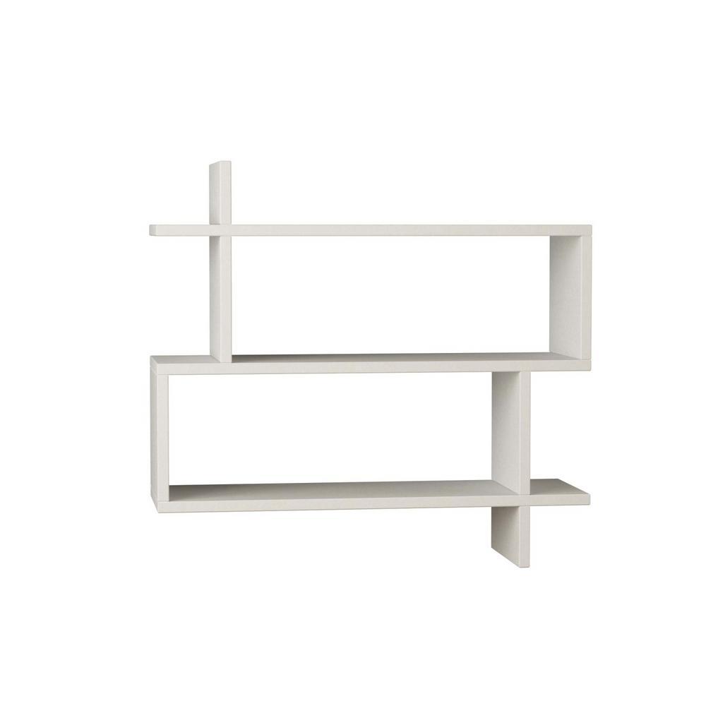 Ada Home Decor Westcott White Mid-Century Modern Wall Shelf