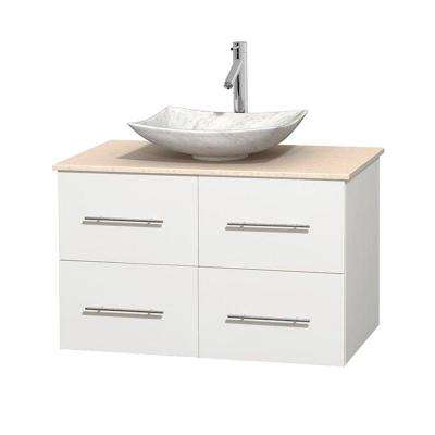 Centra 36 in. Vanity in White with Marble Vanity Top in Ivory and Carrara Sink