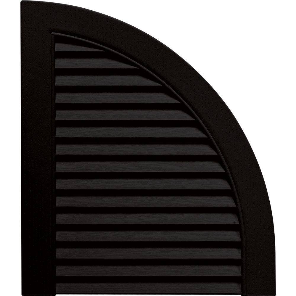 15 in. x 17 in. Louvered Design Black Quarter Round Tops Pair #002