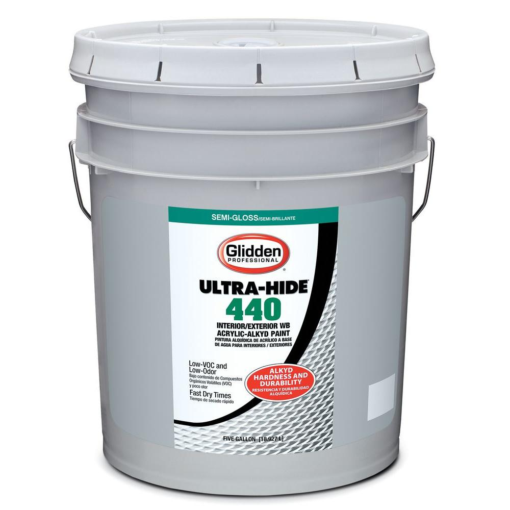 Glidden professional 5 gal ultra hide 440 semi gloss oil alkyd white tint base interior - Exterior white gloss paint image ...