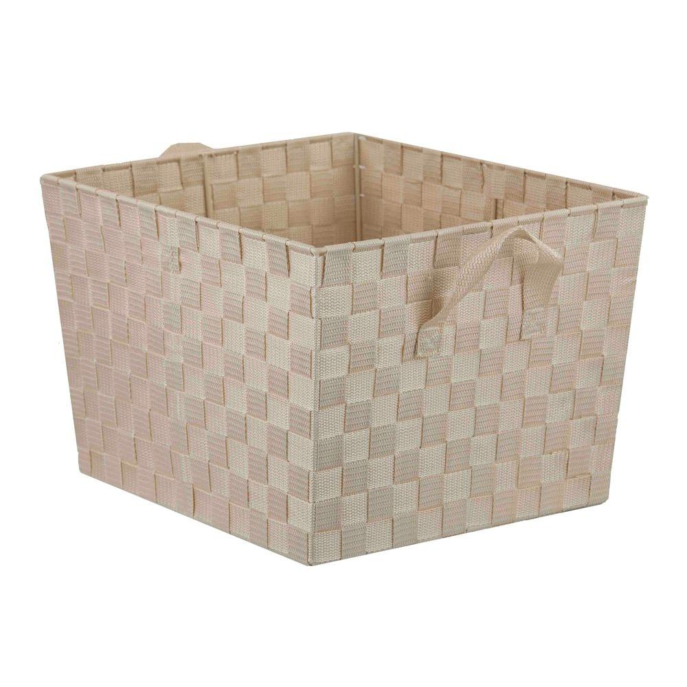 Home Basics 13 in. x 10 in. Ivory Non Stackable Bin