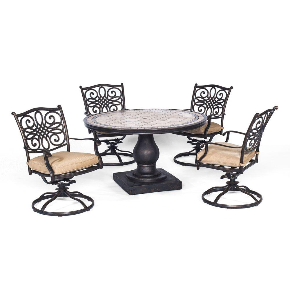 Hanover Monaco 5 Piece Round Patio Dining Set With Four Swivel Rockers And  Natural Oat