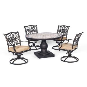 Hanover Monaco 5-Piece Round Patio Dining Set with Four Swivel Rockers and Natural Oat... by Hanover